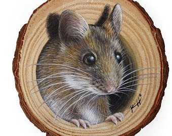 A Sweet Mouse Coming Out from Its Lair, a Unique Wood Slice Painting by Roberto Rizzo!Original Art 100% Hand Painted!