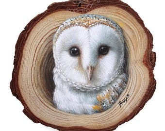 A Realistic Barn Owl Coming Out from Its Lair, a Unique Wood Slice Painting by Roberto Rizzo!Original Art 100% Hand Painted!
