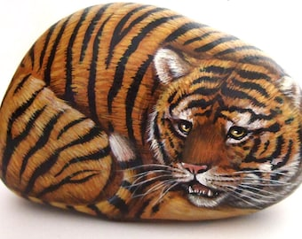 Wild Tiger Painted on A Sea Pebble | Painted Stones by Roberto Rizzo | Unique piece of Wildlife Art