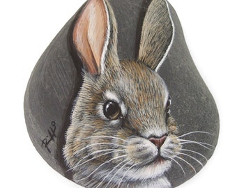 Unique Rabbit's Head Hand Painted on A Flat Sea Pebble | Original Collectable Fine Art by Roberto Rizzo