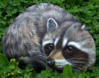 A Wonderful Life-Sized Rock Painted Raccoon! | A Unique Piece of Art Totally Hand Painted and Signed by Roberto Rizzo