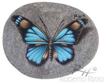 Original Hand Painted Blue Butterfly Resting on A Rock | Unique Rock Painting Art by Roberto Rizzo