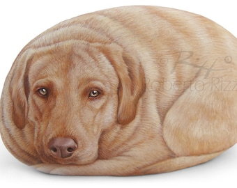 Custom Dog Portrait Hand Painted on a Natural Sea Stone | Fine Detailed Pet Rock Portraits by the Artist Roberto Rizzo