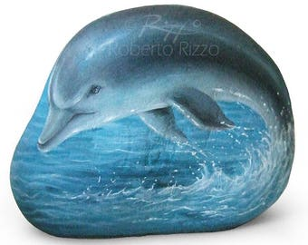 A Smooth Sea Rock Transformed in a Jumpin' Dolpihin! Rock Painting Art by Roberto Rizzo