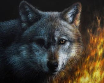 Still Burnin'   Original Wolf Painting   Unique Animal Art 100% Hand Painted by Roberto Rizzo