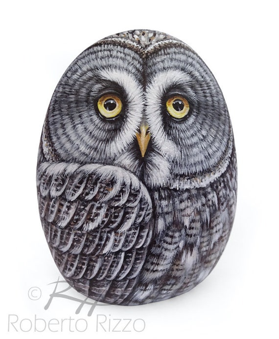 Original Hand Painted Great Grey Owl Rock | Owl Painted Stone Bird Art Painted Pebbles by Roberto Rizzo