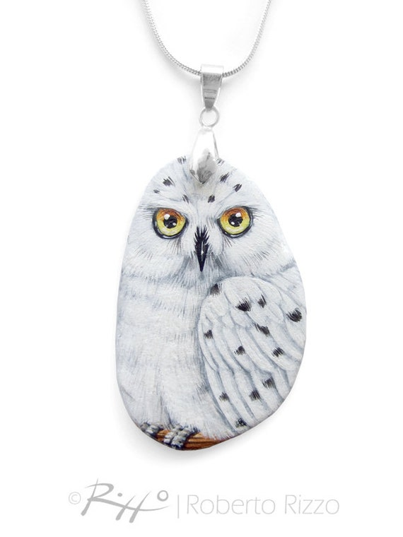 Snowy Owl Pendant Hand Painted on A Lightweight Flat Sea Rock | Wearable Art by Roberto Rizzo