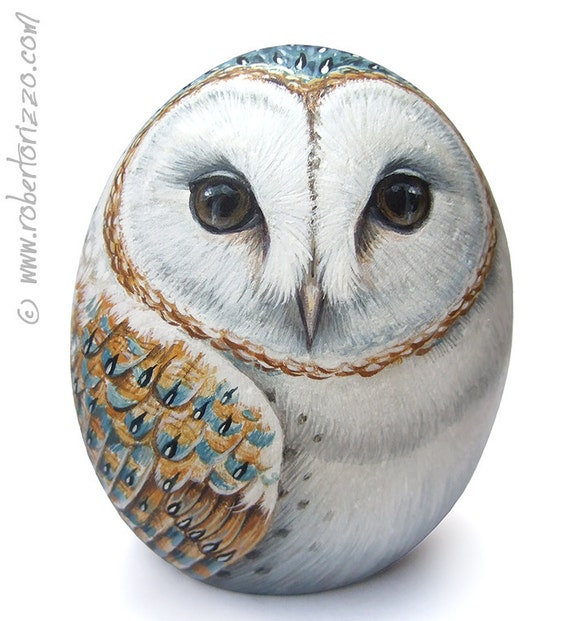 Original Hand Painted Barn Owl Rock