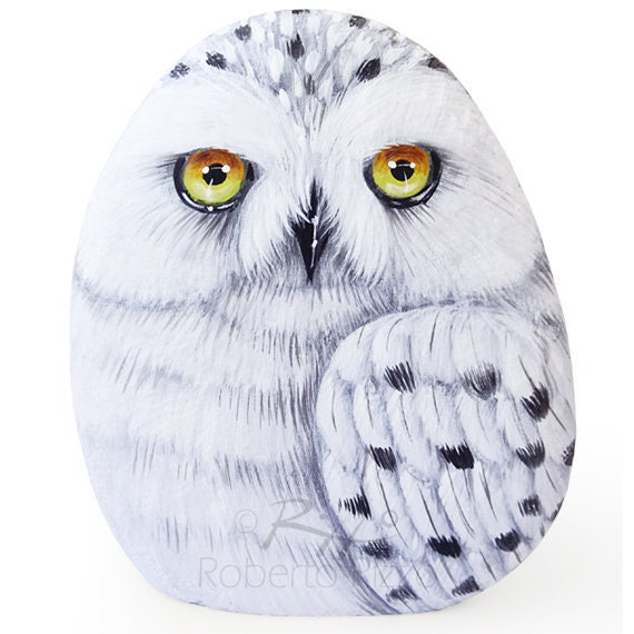 Stone Painted Snowy Owl Rock Painting Art By Roberto Rizzo Etsy
