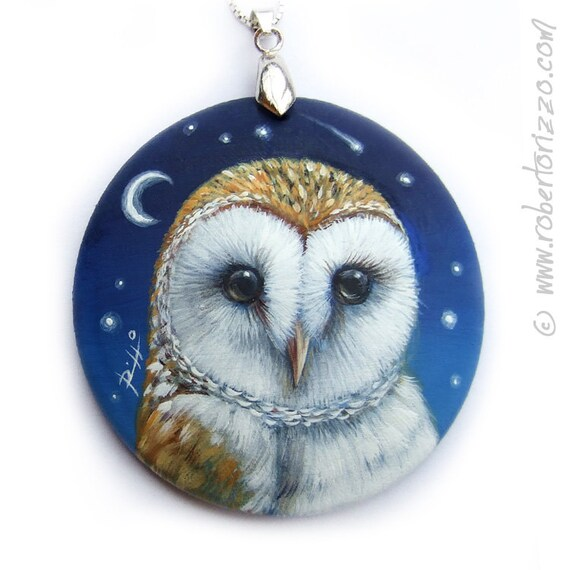 Unique Barn Owl Pendant | Hand Painted Jewels and Wearable Art by Roberto Rizzo