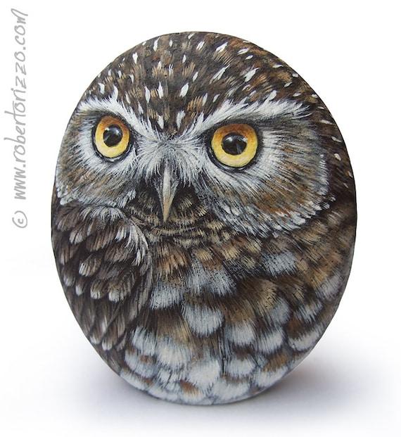 Original Hand Painted Little Owl Rock Etsy