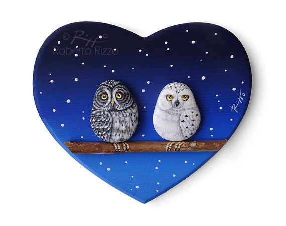 Owls In Love Under the Snow | Unique 3-D Paintings on Wooden Hearts! Handmade Artworks by Roberto Rizzo