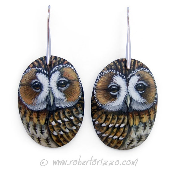 Pair of Tawny Owl Earrings | Hand Painted Jewels