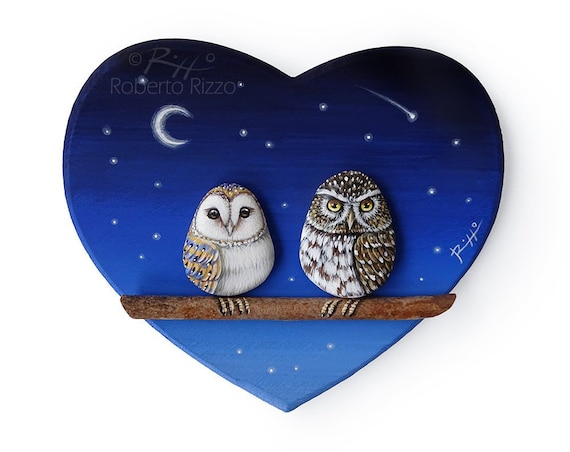 Starry Night with Owls In Love | Unique 3-D Paintings on Wooden Hearts! Original Artworks by Roberto Rizzo