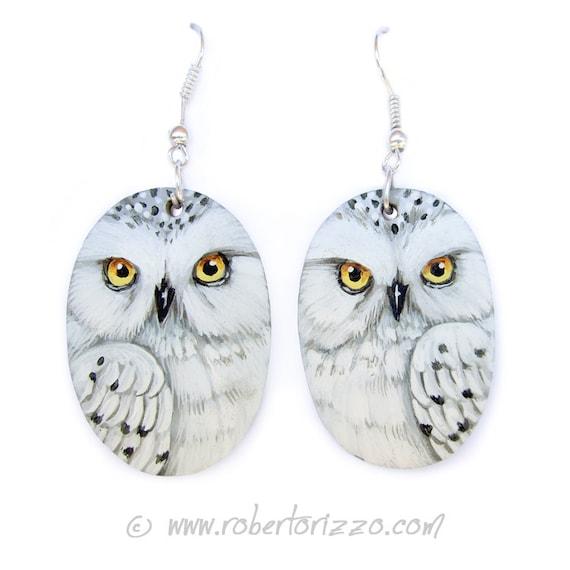 Pair of Snowy Owl Earrings   Hand Painted Jewels