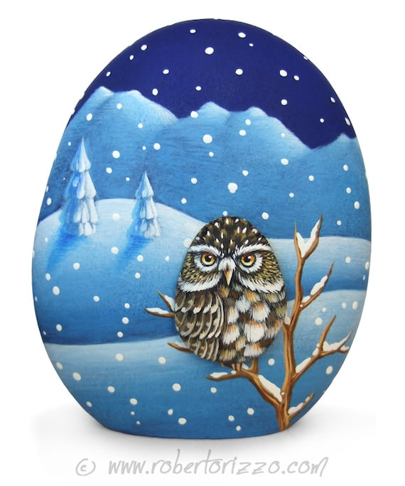 Little Owl Under the Snow | Two Painted Rocks and an Unique Piece of Art