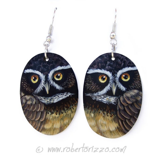Pair of Spectacled Owl Earrings | Hand Painted Jewels