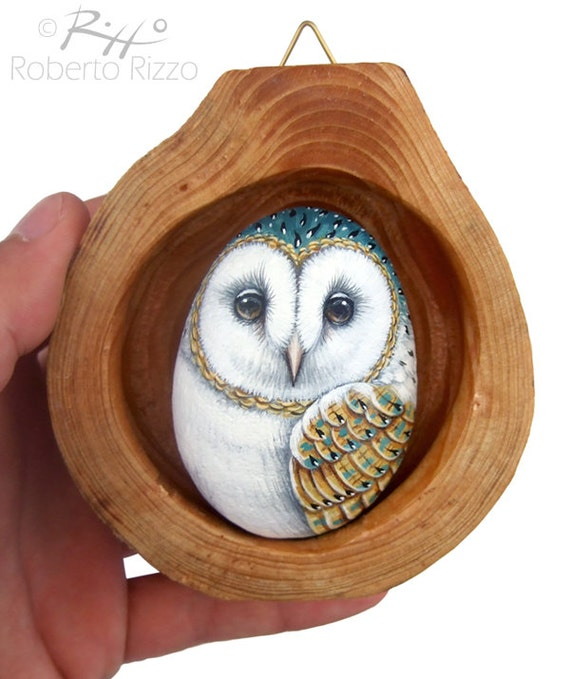 Barn Owl's Nest | Unique 3-D Art Totally Hand Painted by the Artist Roberto Rizzo | Rock Art Owl Art Hand Painted Barn Owl