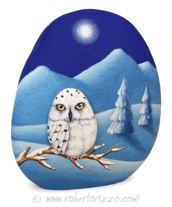 Snowy Owl Winter Landscape | Two Painted Rocks and an Unique Piece of Art
