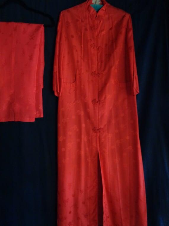 Vintage Chinese set of coat robe and pants pajamas