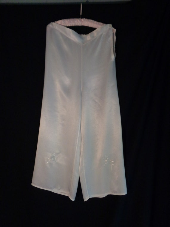 1920's silk lounge pants embroidered beach pajamas