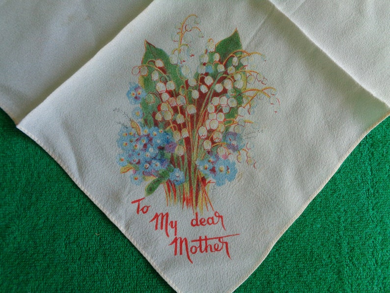Vintage handkerchief Mother message Lily of the valley flowers.