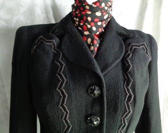 1940's jacket black wool velvet trim small