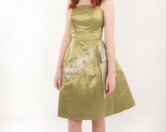 1950s Satin Cocktail  Dress