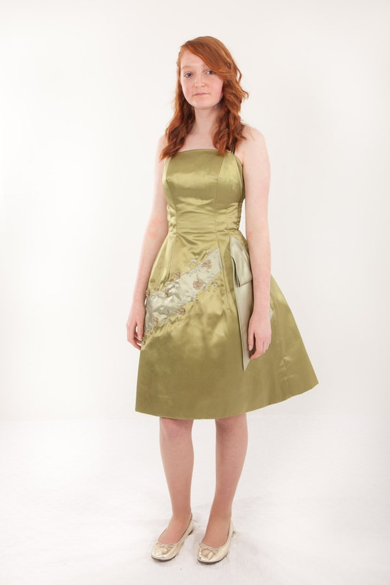 1950s Satin Cocktail  Dress