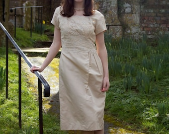 Delicious Late 1950s Early 60s oyster satin and lace prom dress /wedding dress/ bridesmaid's dress