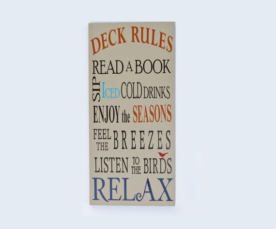 Deck/Porch Rules Wood sign: Read a book Sip iced cold | Etsy