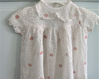 Vintage Dotted Swiss Baby Dress White with Red Dots