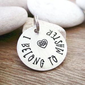 I Belong to Master charm Celtic Heart slave tag 22 letters with spaces max 1 inch alkeme disc BDSM collar charm Master/'s slave