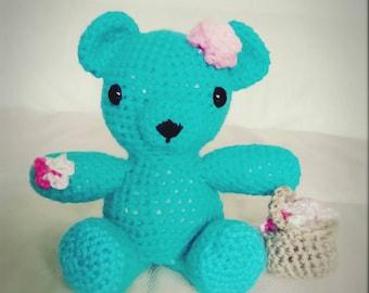 "Handmade Amigurumi ""Something Blue"" Flower Girl Bear,  Wedding Gift"