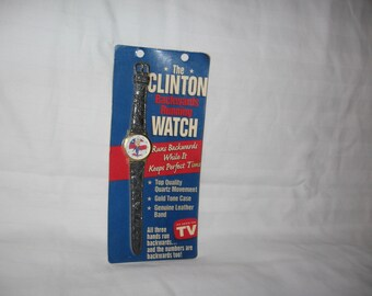 vintage 1990s  the clinton backwards running watch