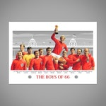 BOYS OF 66 England Football 1966 World Cup Winners Team Giclee Art Print, Wembley Stadium London Poster, England Football Memorabilia Gift