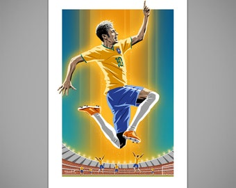 NEYMAR (BRAZIL) Goal Celebration Football Art Print, World Cup Brazil Football Poster, soccer poster, Brazil 2014 Football Kit, Gift