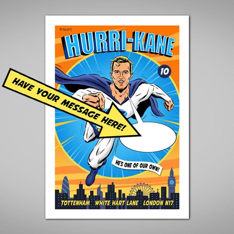 c0262de675f5c PERSONALISED HARRY KANE Super Hero Football Giclee Art Print