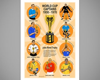 Jules Rimet WORLD CUP CAPTAINS 1930-1970 Giclee Art Print, World Cup Football Illustration, Football Art Poster, Collectible Football Gift,
