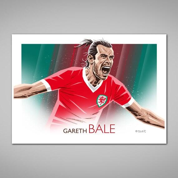 innovative design f3547 e5e8f GARETH BALE Wales Football Goal Celebration Portrait Giclee Art Print,  Gareth Bale Poster, 1958 Wales Football Shirt, Football Gift