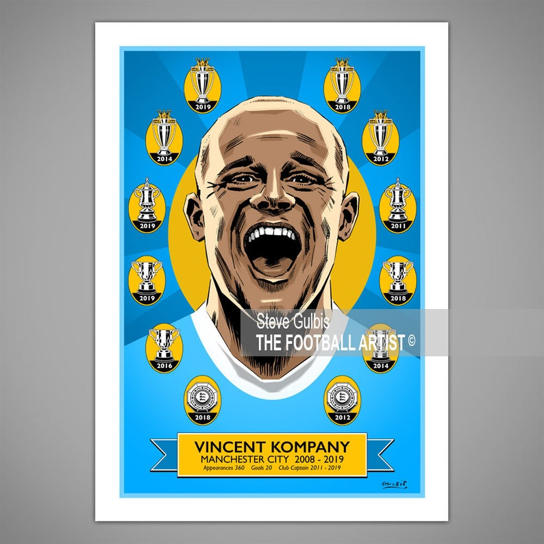 VINCENT KOMPANY PORTRAIT Manchester Football Giclee Art Print image 0