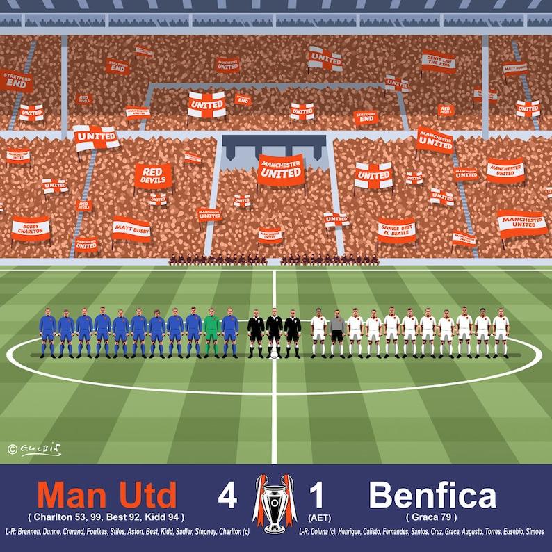 bb80bf5187a WEMBLEY 1968 Manchester Utd European Cup Final Champions Art