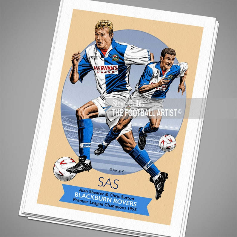 SUTTON /& SHEARER Blackburn Rovers League Champions 1995 Giclee Art Print Birthday Blackburn Rovers Poster Fathers Day Gift