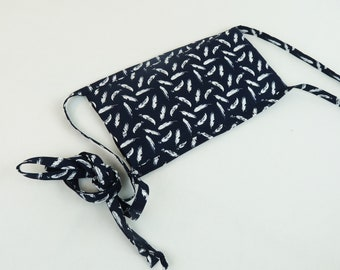 Reusable Hot Cold  Pad with Feather Print on a Navy Background - Removable Cover, Heating Pad, Cold Pack, Gel Pack, Get Well Gift.