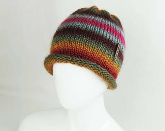 Striped Hand Knit Beanie - Chunky Hat, Hand Knitted Hat, Handknit Teen Beanie, Handmade Hat, Gift Idea