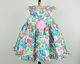 Toddler Birthday Dress - Little Girl Easter Dress with Pink and Blue Floral Print and a Touch of Bling.