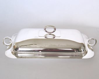 Silver Plate Appetizer Tray - Godinger Silverplate Serving Tray with Lid, Hors D'oeuvres Tray, Modern Serveware, Dinnerware