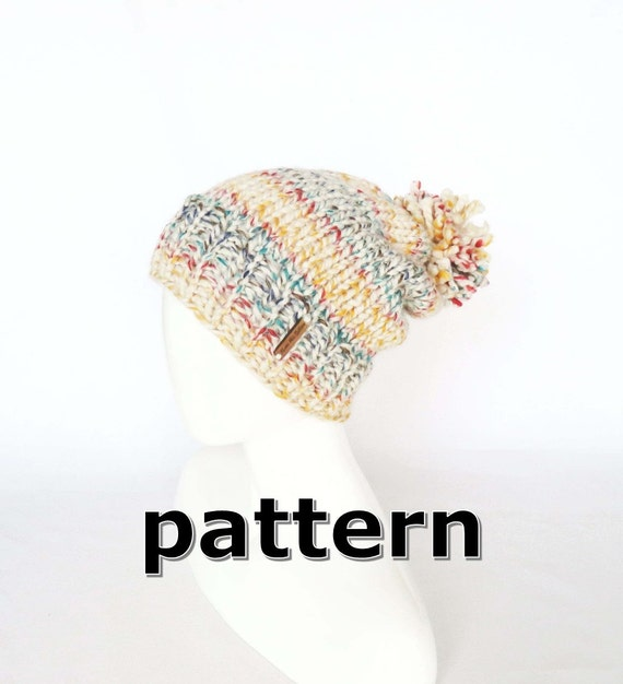 Easy Knitting PATTERN Slouchy Hat DIY Self-Striping Slouchy | Etsy