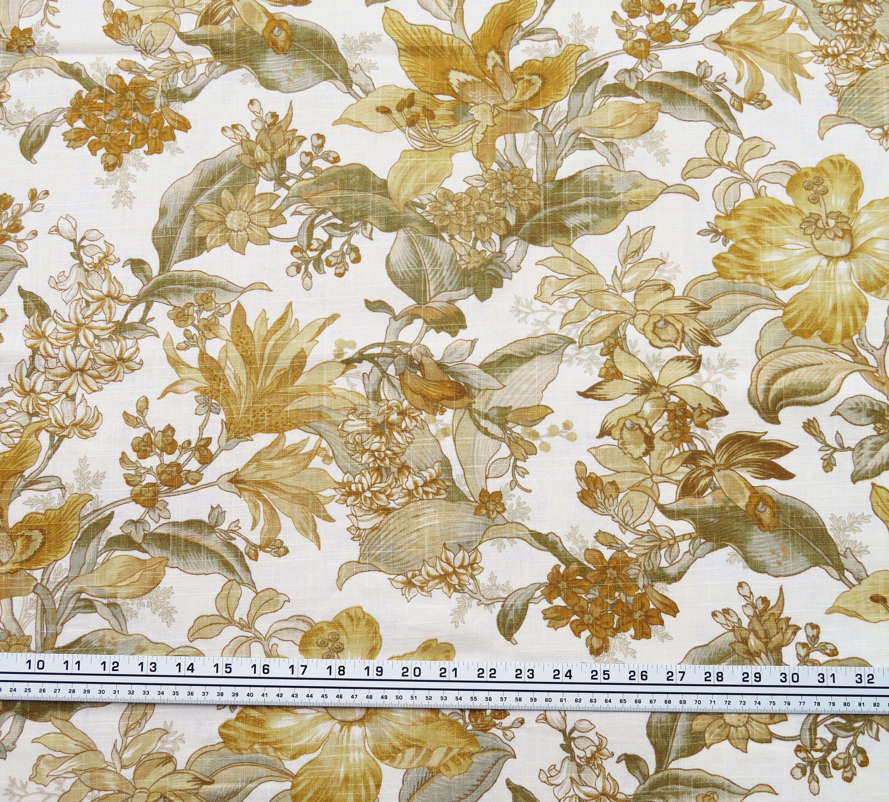 Mustard Floral Fabric Home Decor Fabric Upholstery Etsy