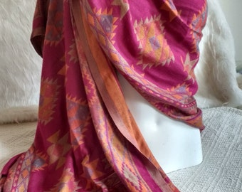 Deep fuschia pink and orange Boho Tribal Shawl, Hanging, Upholstery